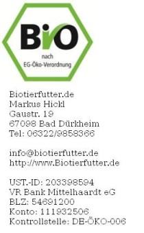 Biotierfutter.de  Markus Hickl  Gaustr. 19  67098 Bad Dürkheim     Telefon: +49 6322 9858366     Home: http://www.Biotierfutter.de     E-Mail: info@biotierfutter.de